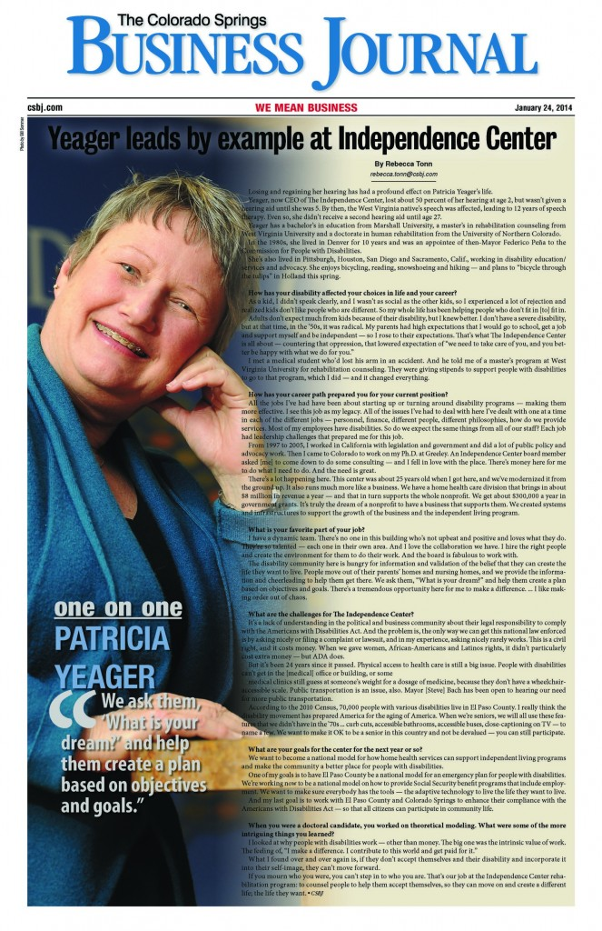 Patricia Yeager CEO of The independence Center article in The Colorado Springs Business Journal