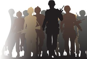 Stock photo of silhouettes of veterans