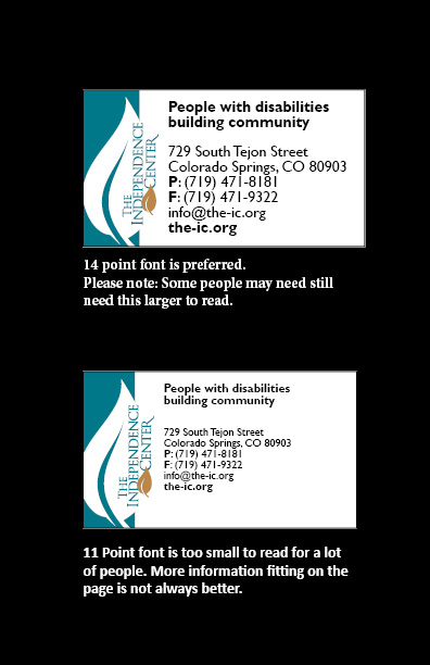 Sample business cards showing the difference between 14 point font and 11 point font.