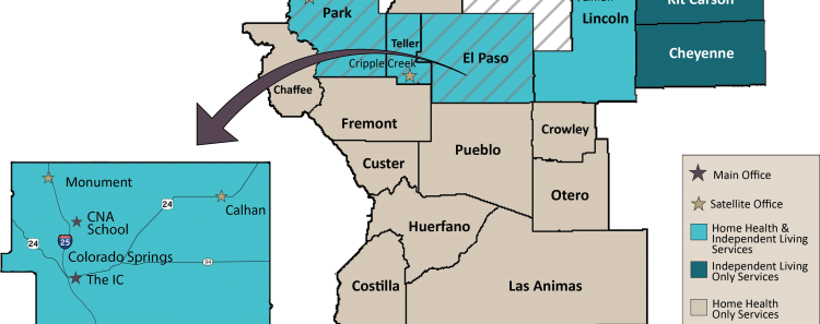 Map of The Independence Center coverage areas.