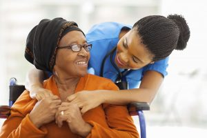 Home Health Worker with Patient