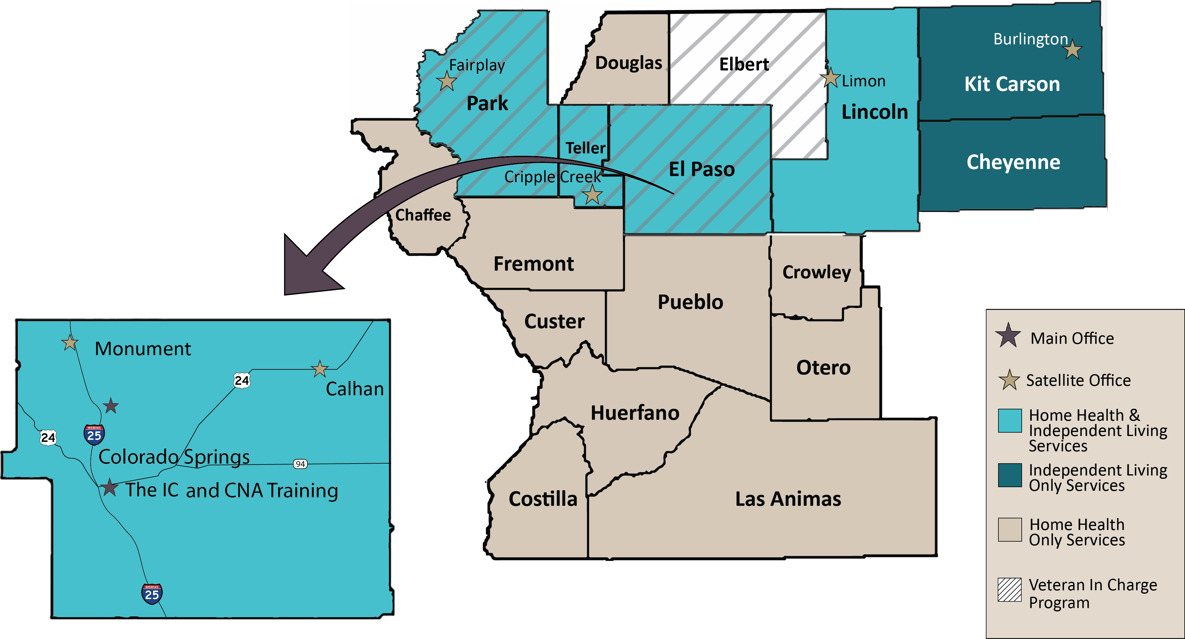 Map of Counties The IC serves