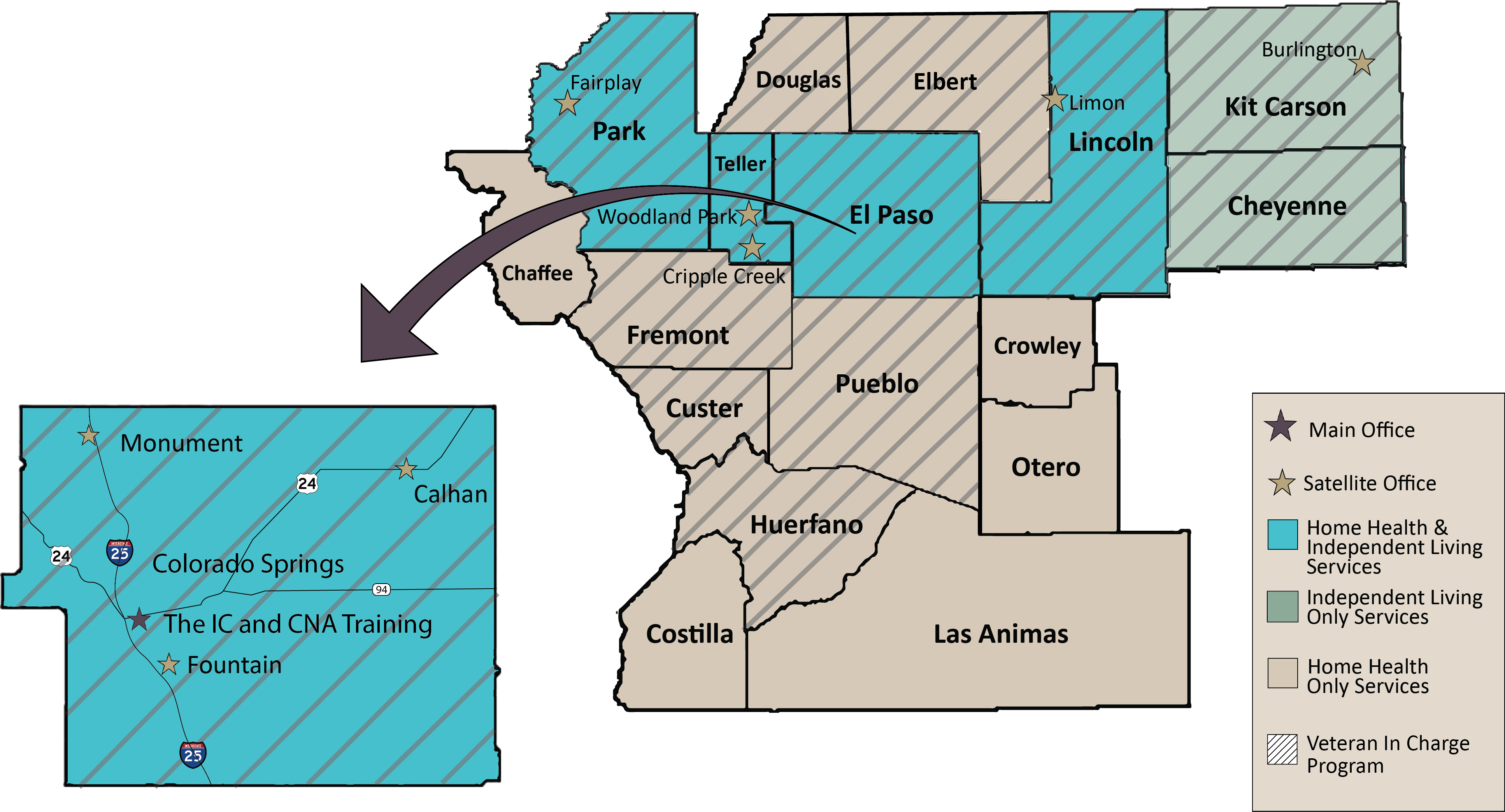 Map of Counties Served by The Independence Center.