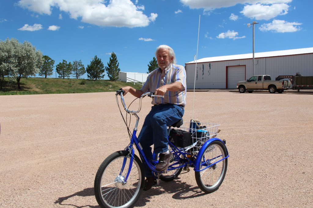 Ross Huddleson rides his new bicycle