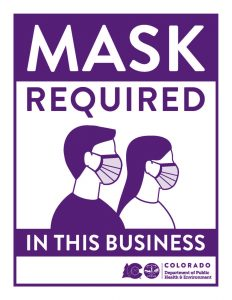 Image of sign with the words mask required in this business